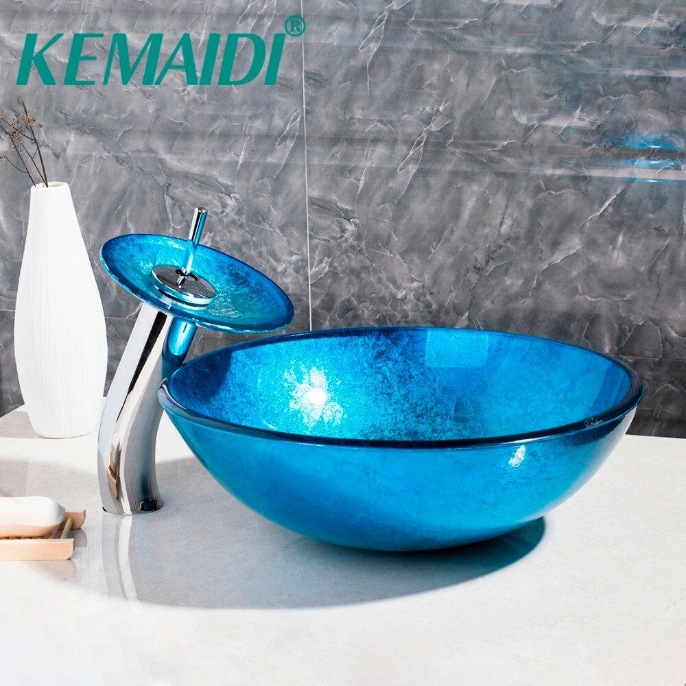 Auspicious Clouds Bathroom Artistic tempered Glass Vessel Vanity hand print color Sink bowl tree146