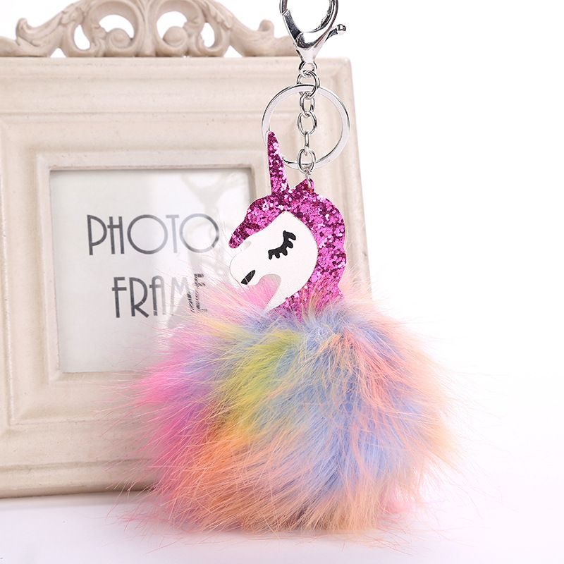 DROPSHIPPING Multi-color  Fluffy Unicorn Pompom Faux Rabbit Fur Key Bag Chain Bag Ring Best Gifts For Girl Ladies Unicorn  toy