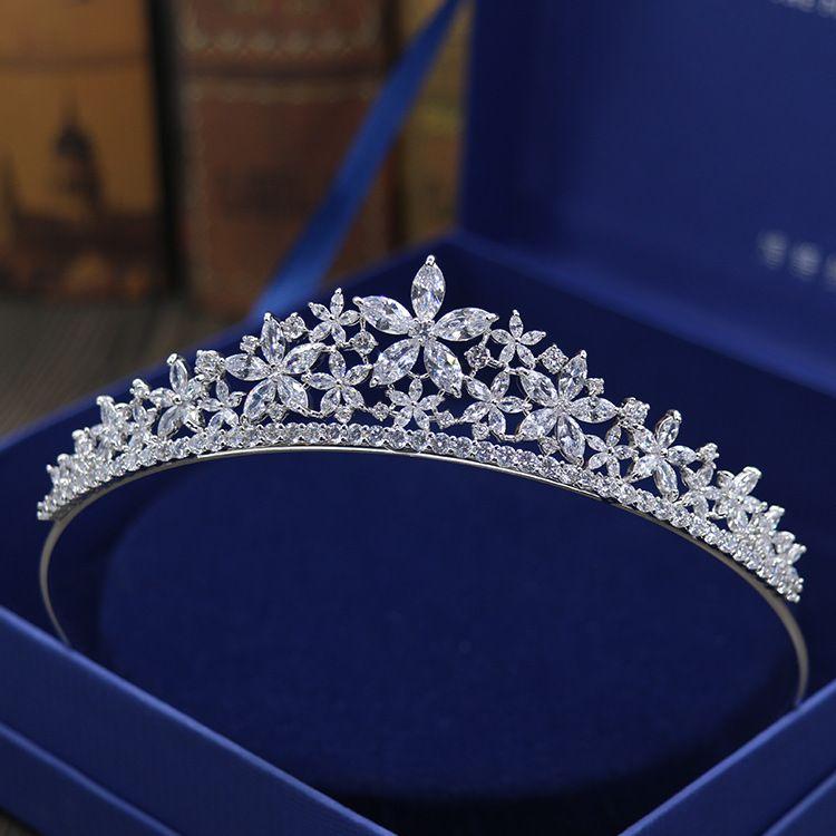 Cristaux de mariée strass perles cuivre cubique Zircon mariage tiare CZ mariée reine princesse reconstitution historique fête couronne demoiselles d'honneur
