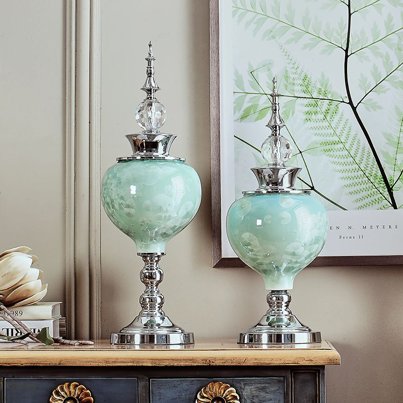 Creative European Furnishing Articles Sitting Room Porch TV Ark Home Decoration Crystal Glaze Ceramic Craft Desktop Wedding Gift