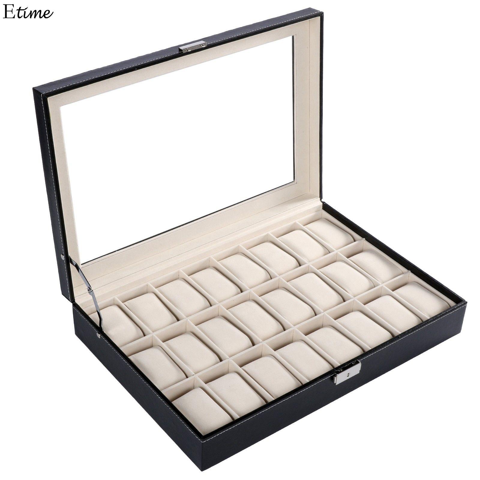 FANALA 2017 PU Leather Watch Display Box 24 Grid Watch Case Jewelry Storage Organizer