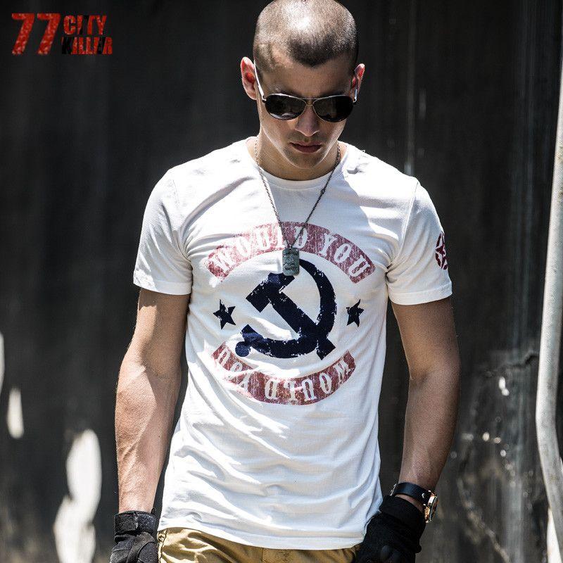 77City Killer Letter Would You Men T-shirt Summer <font><b>Tactical</b></font> Tees Tops Cotton Stretch T Shirts Hip-Hop Homme T8003