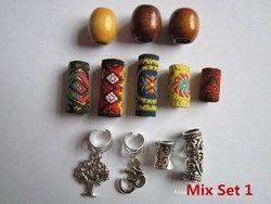 Free shipping 12Pcs/Lot mix wooden metal fabirc hair braid dread dreadlock beads clips cuff