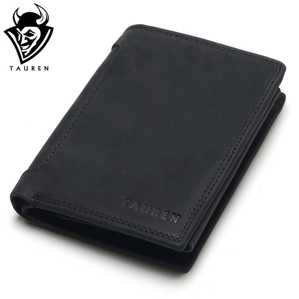 TAUREN Designer 100% Genuine Leather Cowhide Dark/Black Crazy Horse Men Short Wallet Purse Card Holder Coin Pocket Male Wallets