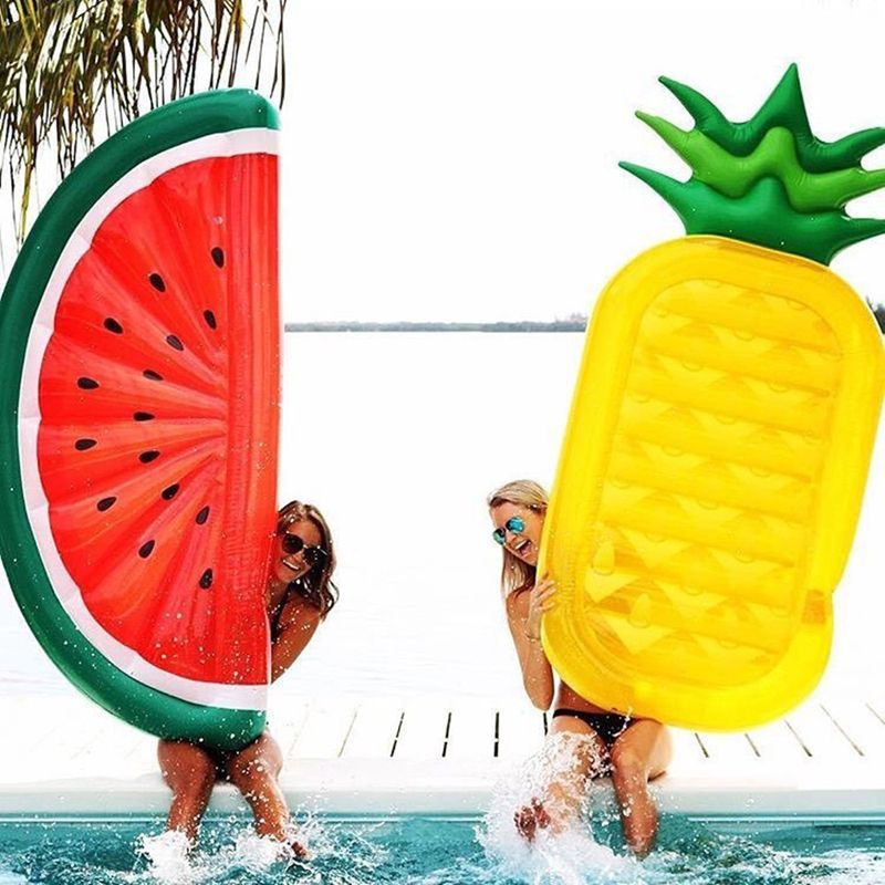 180*90cm Giant Inflatable Watermelon Pineapple Pool Float Water Bed Toy Inflatable Beach Mattress Swimming Ring Circle Sea Party