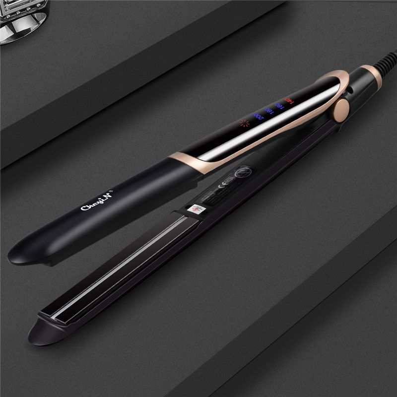 Corrugated Curling Irons Professional Hair Curler Roller 2 In 1 Hair Straightener Flat Iron With LED Digital Temperature Control