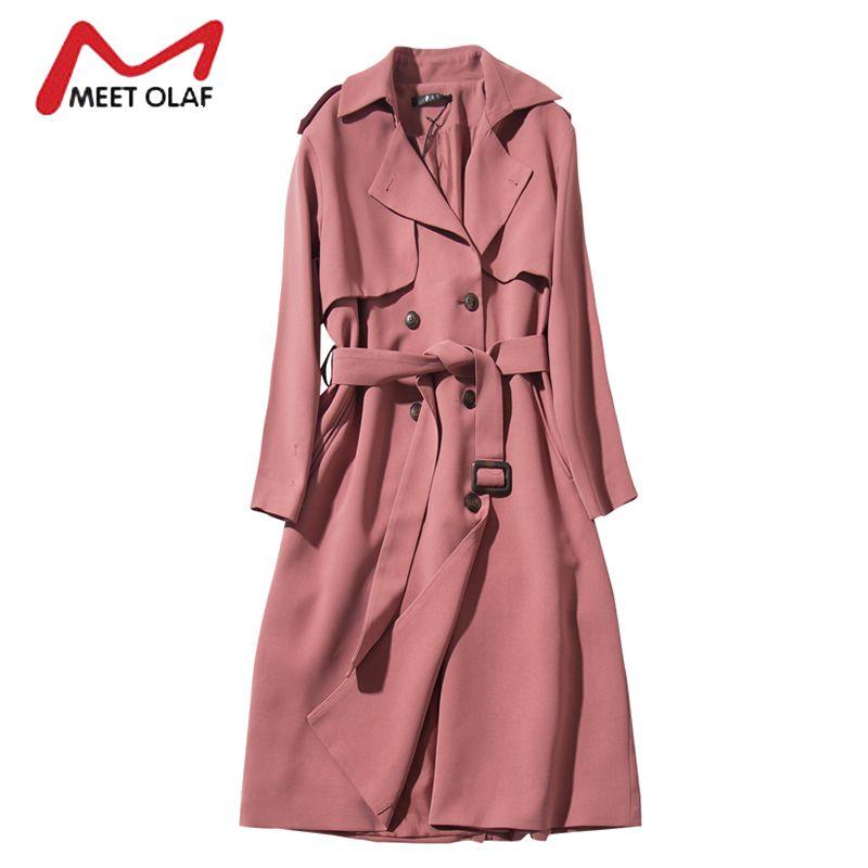 2017 New High Quality Women Trench Coat Female Autumn Thin Long Windbreaker Ladies Casual Overcoat casaco feminino abrigos Y1620