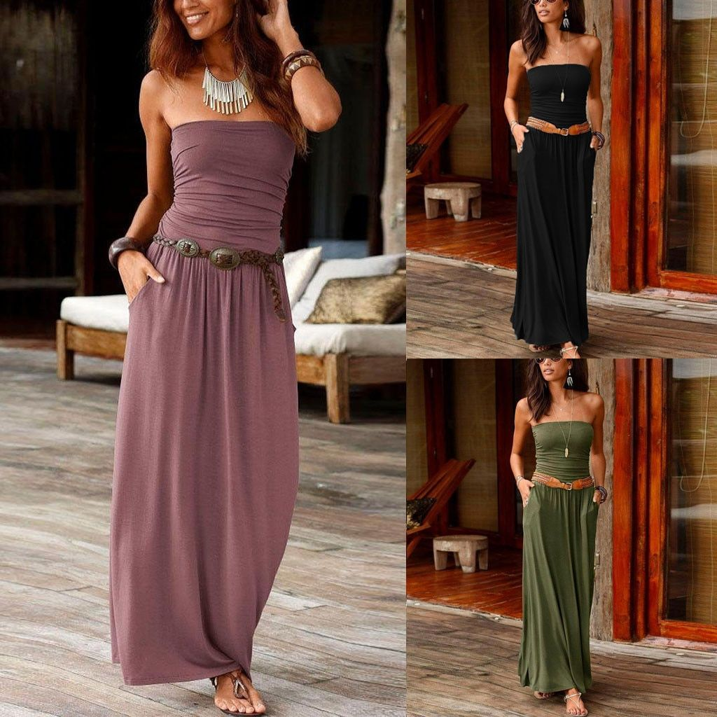 Maxi Dress 2019Top Womens Bandeau Holiday Off Shoulder Long Dress Ladies Summer Solid Sundress Vestidos Robe Femme