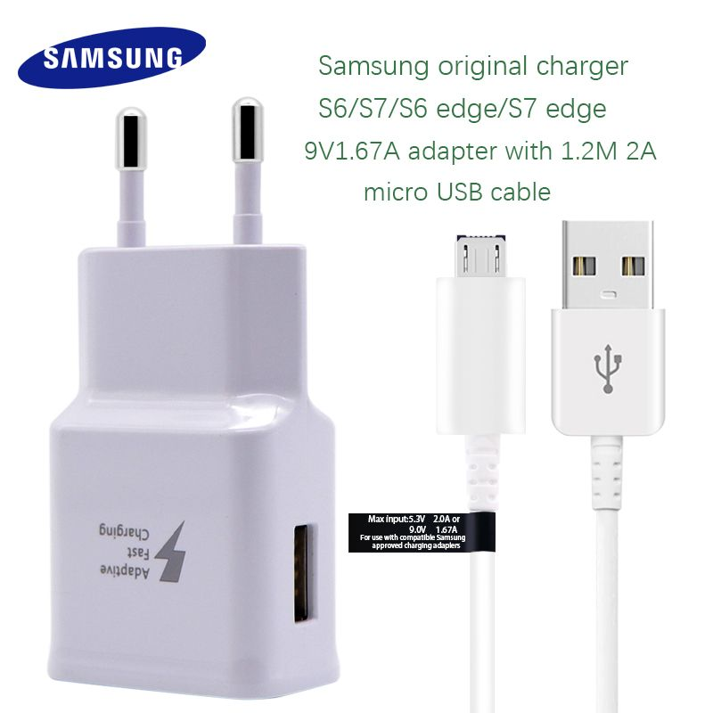 Samsung Galaxy S6 S7 edge Fast Charger Original Quick Travel Wall Charge 9V1.67A Adapter with 1.2M Micro USB Cable EU US UK Plug