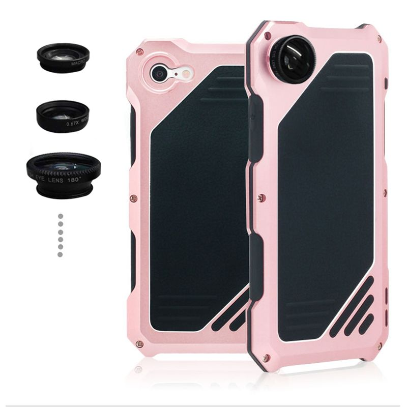 i8 Luxury doom armor Dirt Shock Waterproof Metal Aluminum cell phone case For iphone 7 8 4.7 case Fisheye Wide-angle lens R-just