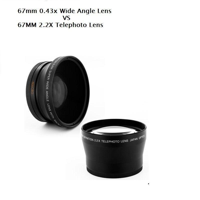 67 MM 0.43X Large Ange & Macro Lentille + 2.2X Téléobjectif pour Canon Nikon OLYMPUS Pentax Sony Tous Les 67mm UV Filtre Lentille de Fil