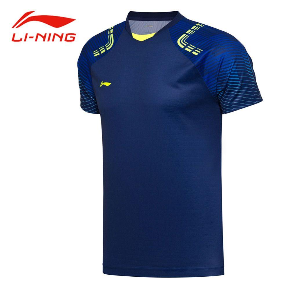 Li Ning Männer Atmungsaktiv Badminton T-shirts Striped Schulter Druck BEI Komfort Tops Futter Sport Wettbewerb Tees AAYN031