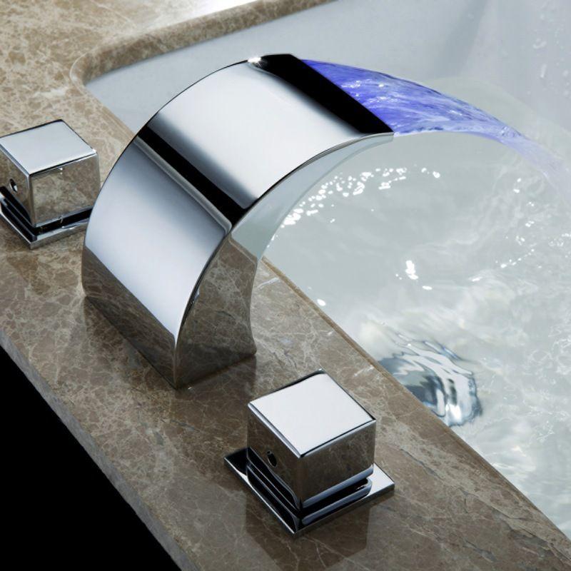 Contrôle de température robinet à LED robinet d'eau salle de bain cascade robinet salle de bain robinets robinet à LED HG-1182DC