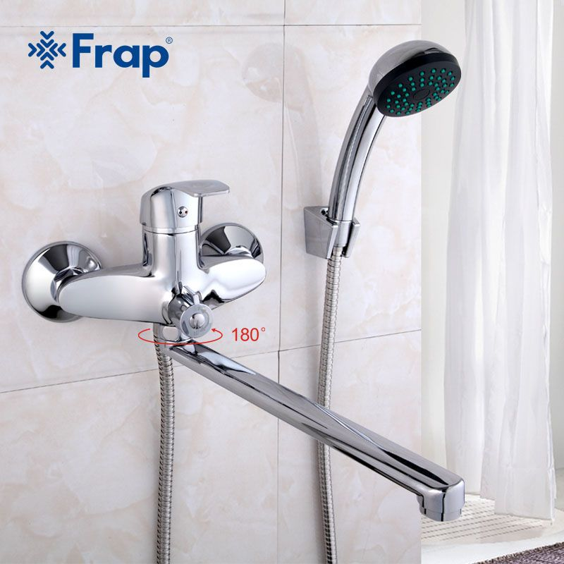 FRAP A set 30cm length outlet rotated Brass body Bathroom shower faucet Four handle options Bathtub Faucet bath water mixer