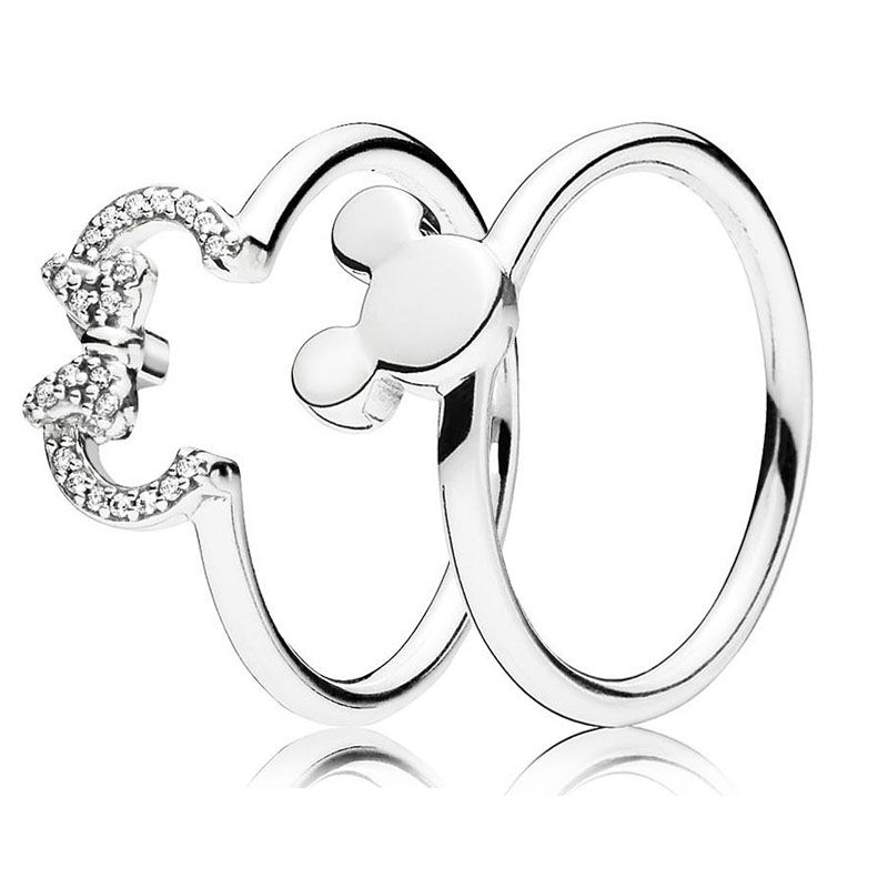 925 Sterling Silver Ring Mickey&Minnie Silhouette Rings With Crystal For Women Wedding Party Gift Fine Pandora Jewelry