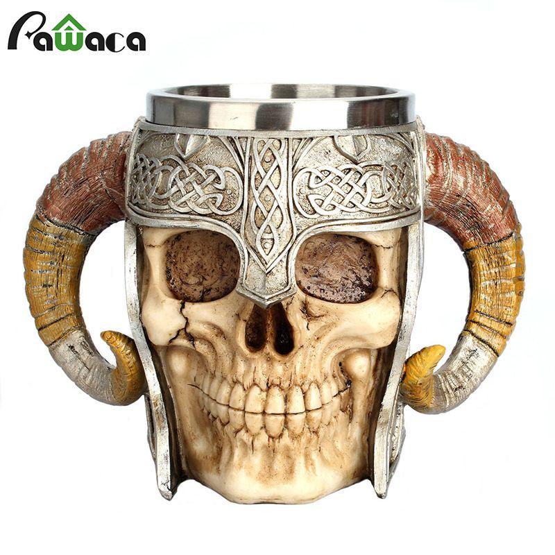 Tasse de crâne en acier inoxydable Viking Ram fosse à cornes seigneur guerrier bière Stein Tankard tasse à café tasse à thé Halloween Bar Drinkware cadeau