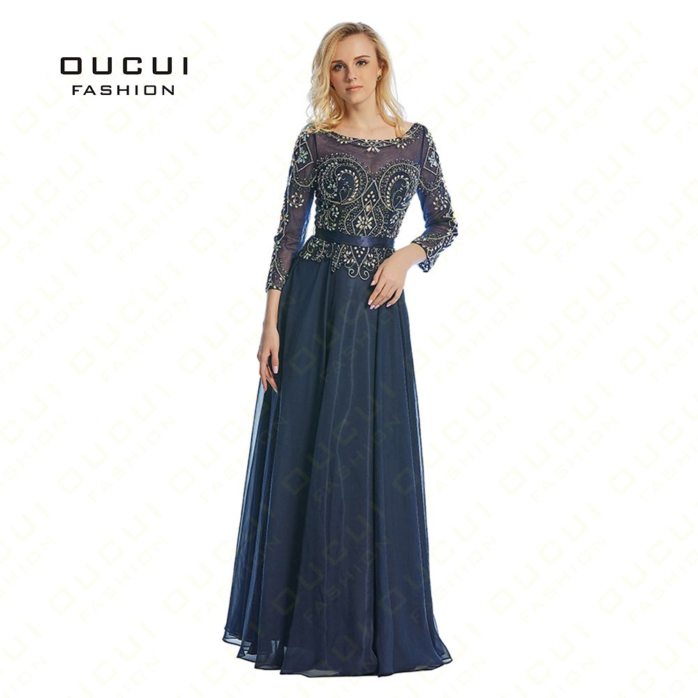 Real Photos Beading Handmade Crystal Three quarter Chiffon Long Prom Evening Dress Formal A Line Sashes High Qulity OL102798