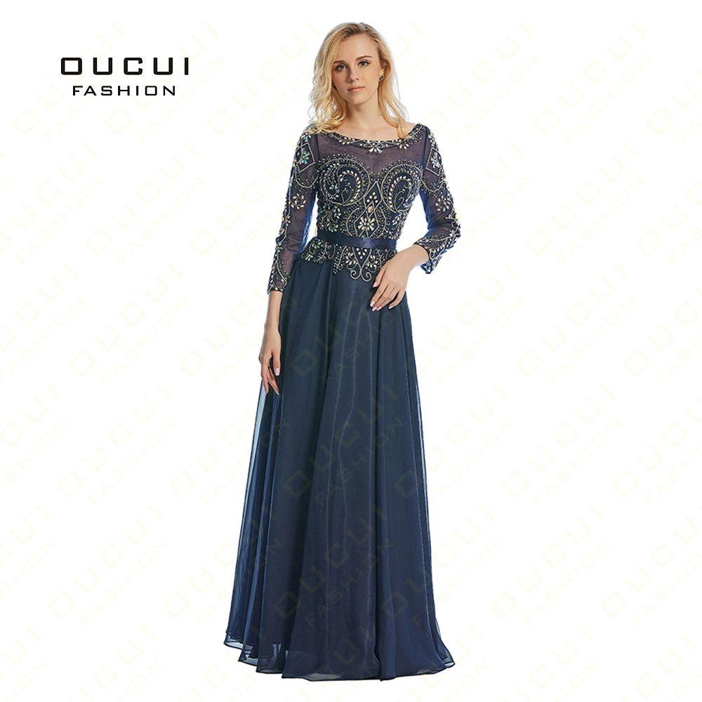 Real Photos Beading Handmade Crystal Three quarter Chiffon Long Prom Evening Dress Formal A Line Sashes High Qulity OL102798