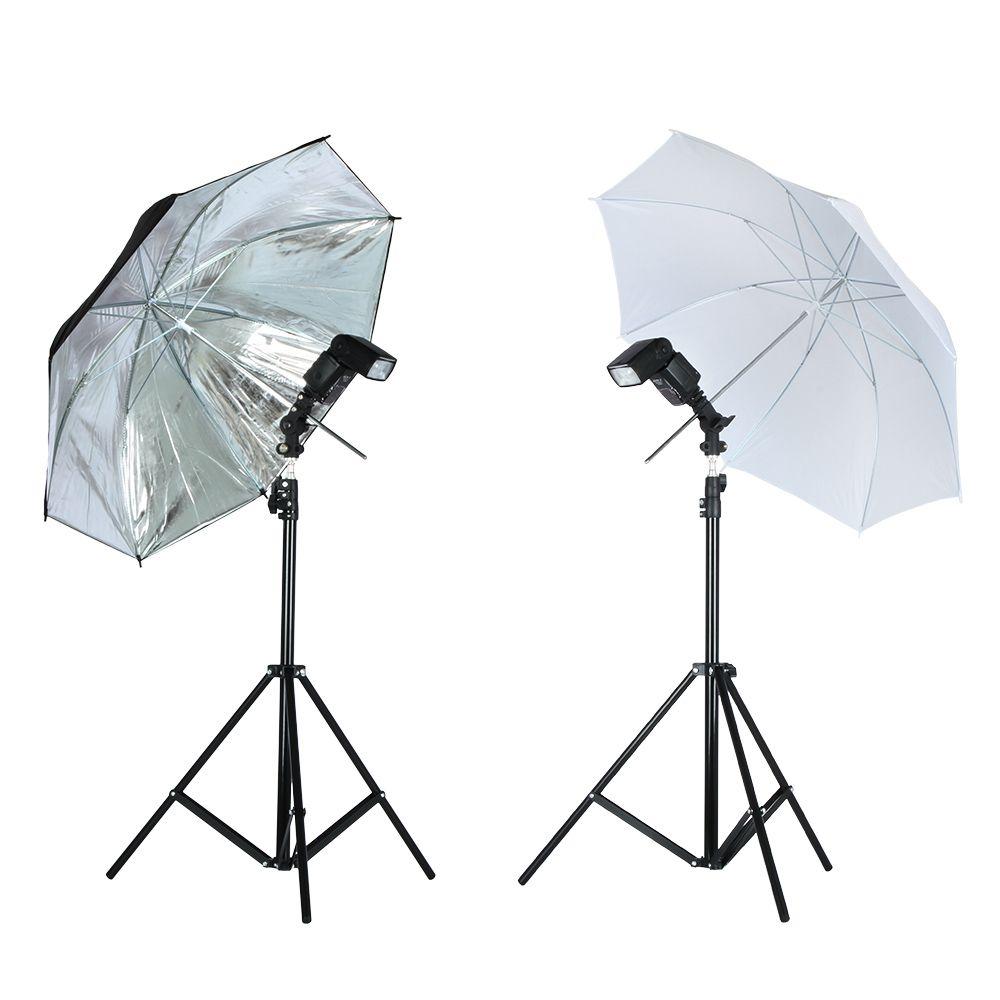 Viltrox Photo Studio Lighting Kit 1.9M Tripod Light Stand + Flash Bracket Holder + 33'' Soft Black silver reflective umbrella