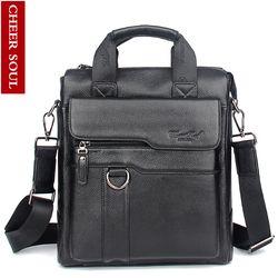 2016 New Hot Genuine Leather Men Bag Cowhide Shoulder Fashion Men Messenger Bags Crossbody Bags Handbags Black Men's Travel Bag
