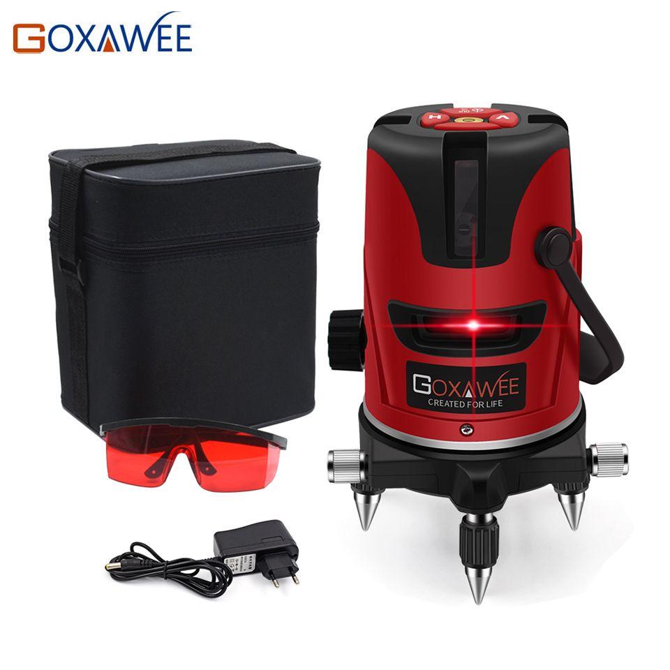GOXAWEE rouge niveau laser 360 degrés ligne transversale niveau rotatif Instruments de mesure 5 lignes 6 points pour les outils de Construction