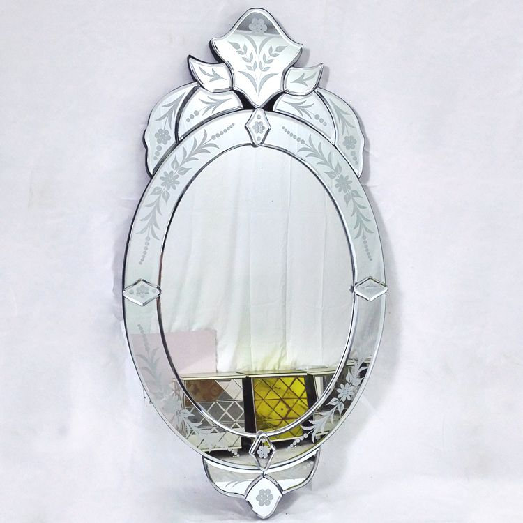 Oval wall glass vanity mirror venice venetian mirror wall decorative mirrored art modern console mirror