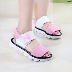 CN 27-37 черный розовый желтый 2018 модные брендовые Дизайнерские летние новые корейские буквы N сандалии для девочек детские туфли принцессы