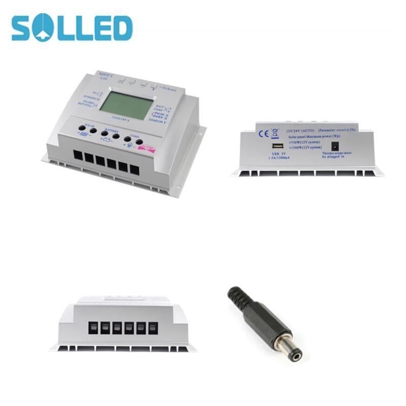 SOLLED 12V 24V 60A MPPT Solar Charge Controller LCD Display Solar Regulator