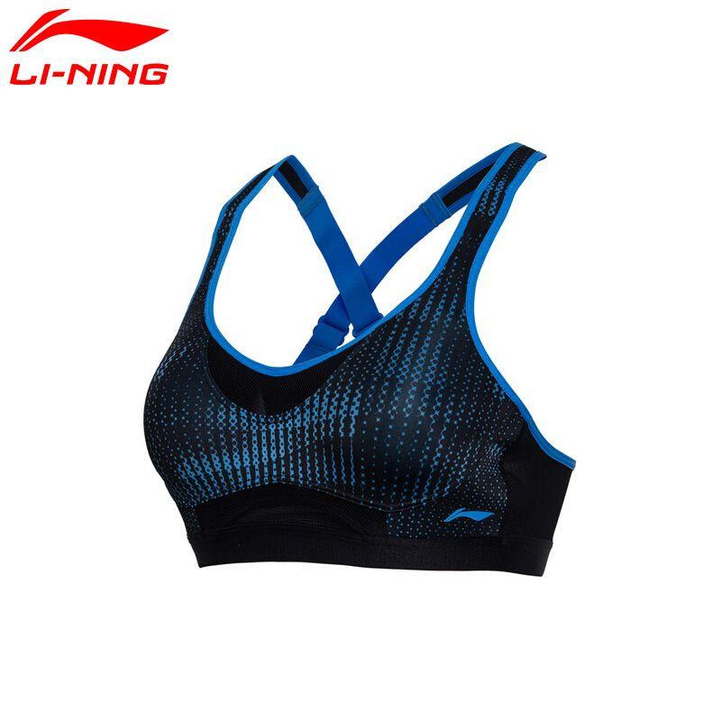 Li Ning frauen Läuft Bhs Hohe Unterstützt Engen Fitness 83% Polyester, 17% Spandex Futter Sport Bras AUBM144