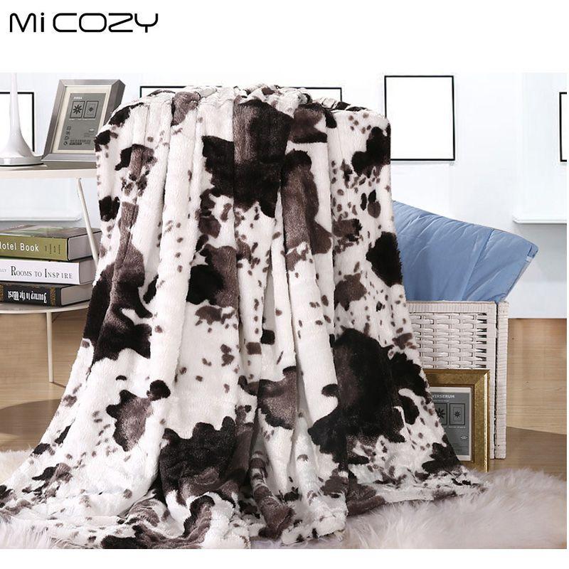 Micozy cow grain faux fur blanket double layers <font><b>ultra</b></font> soft pv plush reverse polar fleece sofa throw blanket,125x150cm