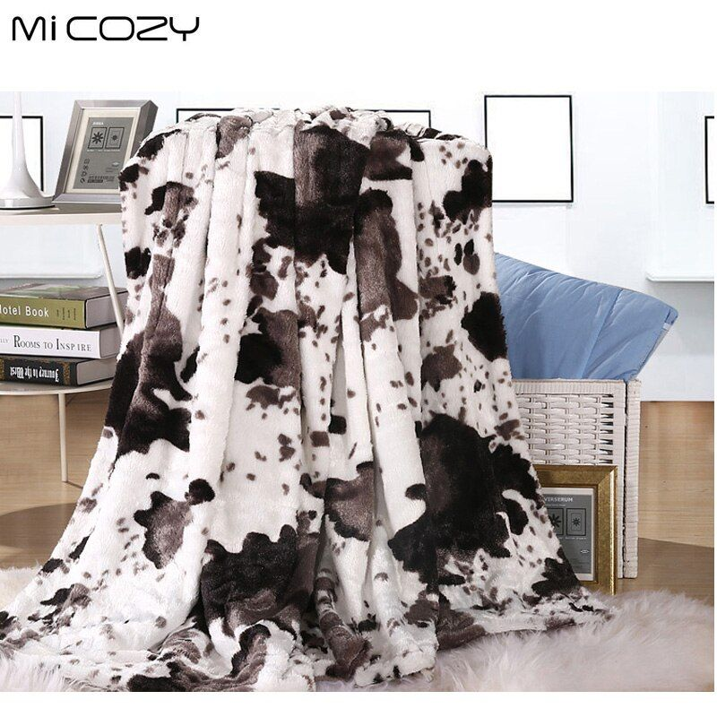Micozy cow grain faux fur blanket double layers ultra soft pv plush <font><b>reverse</b></font> polar fleece sofa throw blanket,125x150cm