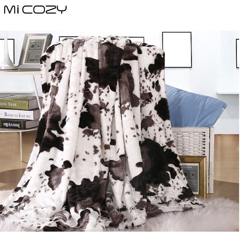 Micozy cow grain faux fur blanket double layers ultra soft pv plush reverse polar fleece sofa throw blanket,125x150cm