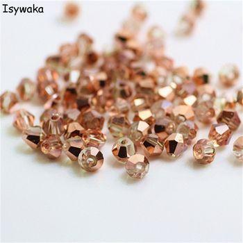 Isywaka Vente Rouge cuivre Couleur 100 pcs 4mm Toupie Autriche Cristal perles charme de Verre En Vrac Spacer Perle pour les Bijoux DIY faire