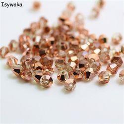 Isywaka Verkauf Rot kupfer Farbe 100 stücke 4mm Doppelkegel Österreich Kristall Perlen charme Glas Perle Lose Spacer Perlen für DIY Schmuck Machen