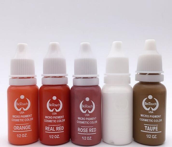 6 precioso color Maquillaje Permanente Tinta Del Tatuaje Del Pigmento 15 ml/Botella Para El Maquillaje de Cejas conjunto para el cuerpo