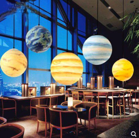 Nordic Kreative Universum Planeten Acryl Anhänger Licht Mond Sonne Erde Mars Uranus Quecksilber schlafzimmer kinder zimmer hunging lampe