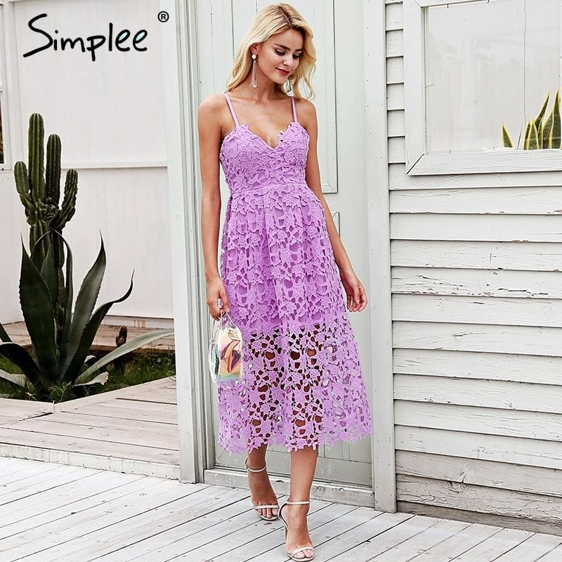 Simplee Strap vintage white lace dress women Overlay v neck summer dress 2018 High waist sexy backless midi dress vestidos