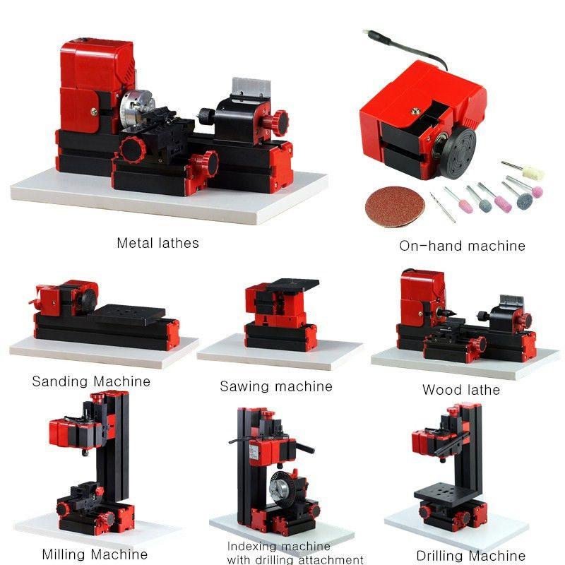 8 In 1 Mini Multipurpose Machine 12VDC 24W 2A DIY Woodwork Model Making Tool Lathe Milling Kit 20000r/min