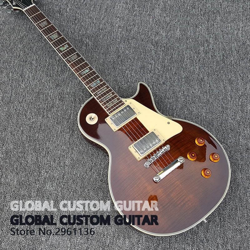 in stock New High Quality Custom shop Bacon color lp Electric Guitar Tiger stripes cover 1959 R9 Free shipping!!!