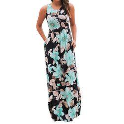 Verano ropa Casual Sexy mujer sin mangas playa vestido largo elegante damas Boho Floral impreso Maxi vestidos de partido # Zer