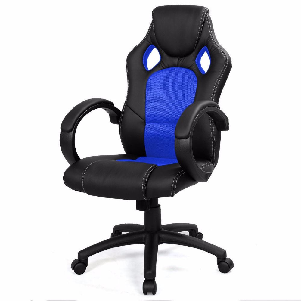 Goplus 6 Colors High Back Race Car Style Bucket Seat Office Desk Chair Mesh Leather Gaming Chair Home Swivel Armchair CB10068