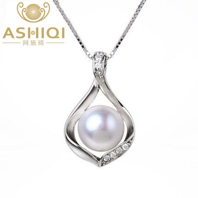 ASHIQI Real perlas de Agua Dulce Naturales collar y Colgantes 925 joyería de plata esterlina 9-10mm perla