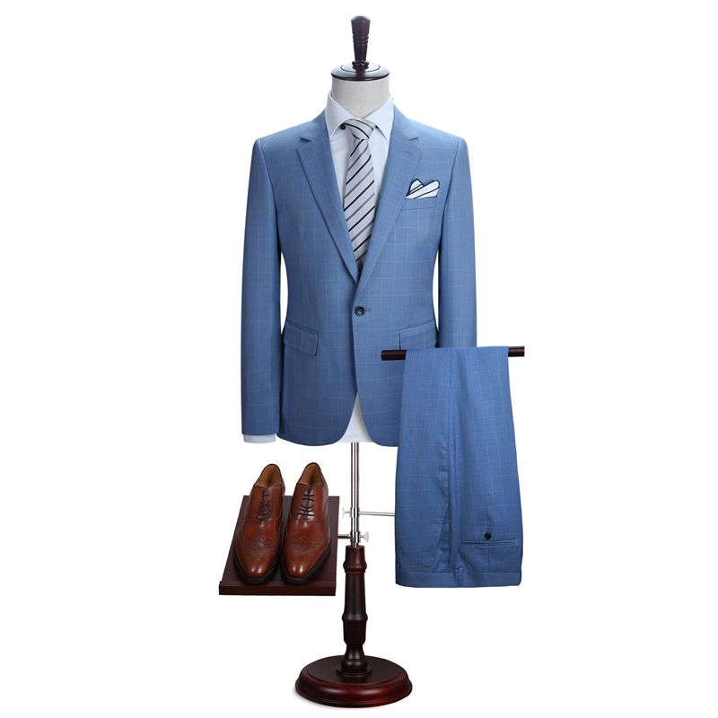 DAROuomo Mens Suit Slim Fit Casual One Button Grid Blazer Side Vent Jacket and Pant for Wedding Party