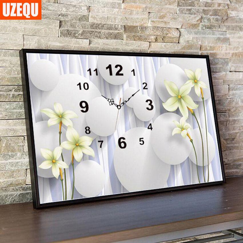 UzeQu 5D Full Diamond Embroidery Watch DIY Diamond Painting Cross Stitch Wall Clock Flower Stones Diamond Mosaic Crafts Decor