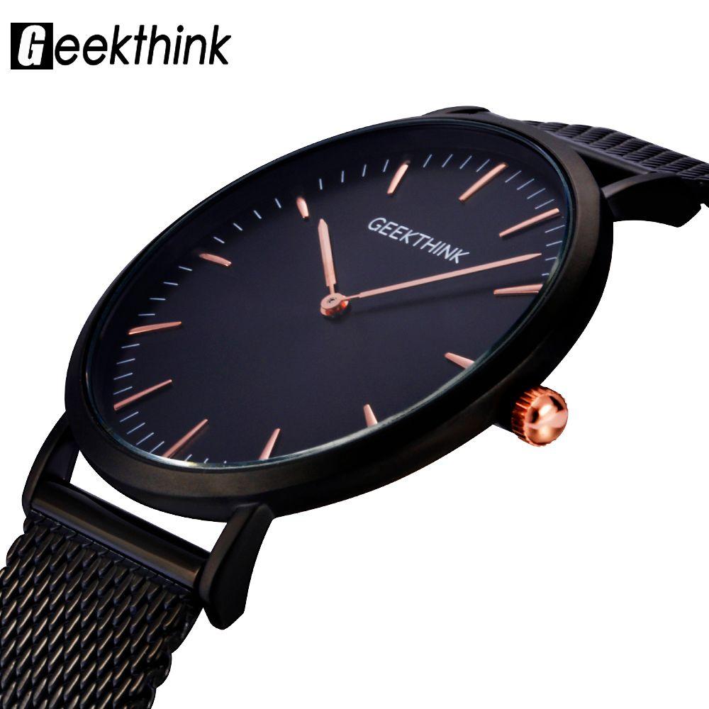 GEEKTHINK Top Luxury Brand Quartz <font><b>watch</b></font> men Black Casual Japan quartz-<font><b>watch</b></font> stainless steel Mesh strap ultra thin clock male