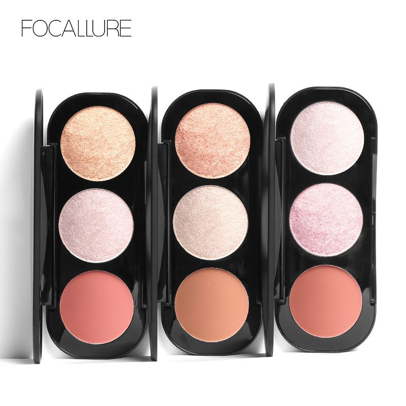 FOCALLURE Brand Bronzers Highlighters 3 Colors Blush&Highlighter Palette Face Matte Highlighter Colorful Powder Countour Makeup