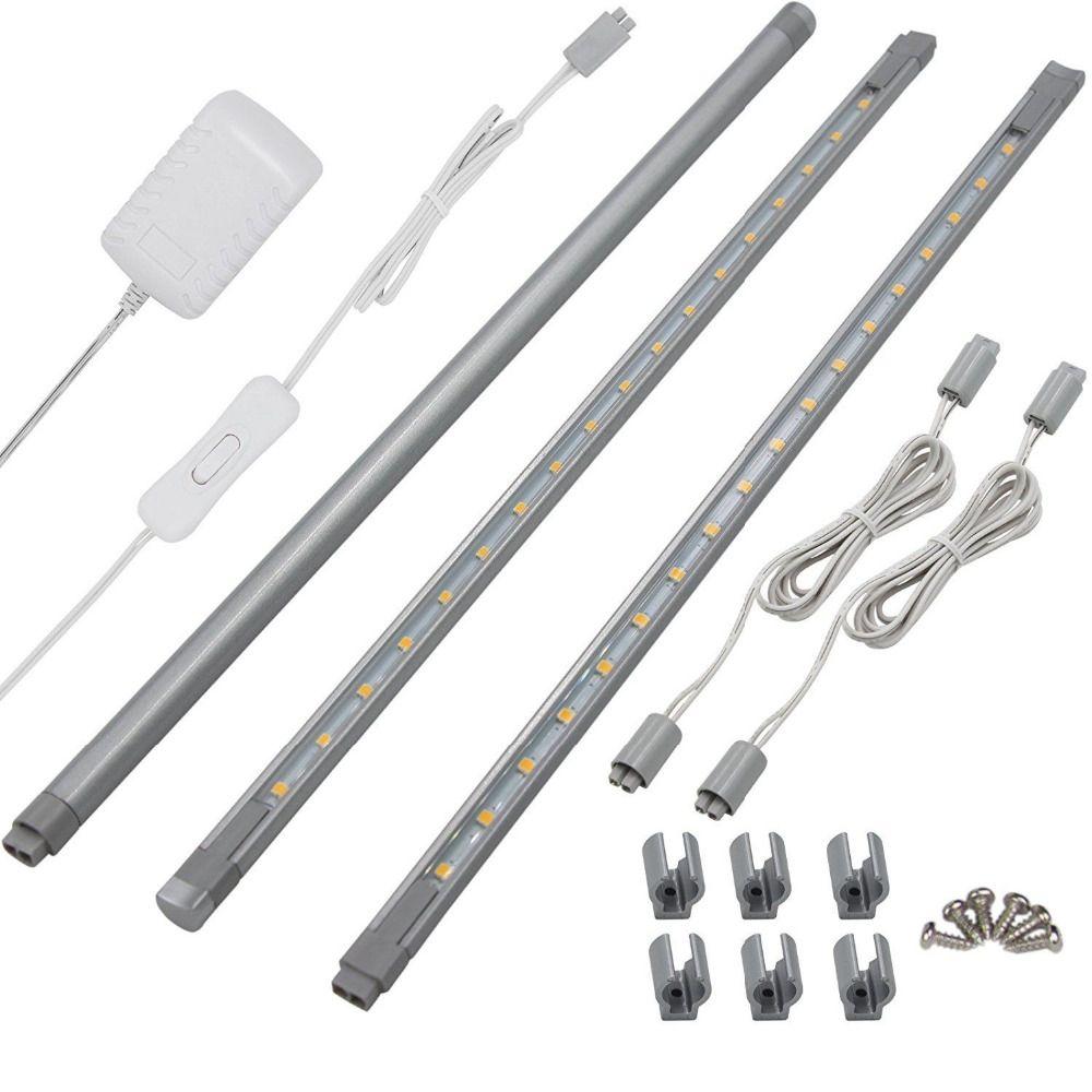 3 Pack LED Linkable Super Bright & Slim Under Cabinet Lights Bar Aluminum Strip Set Lamps LED Accent Kitchen Under Lighting