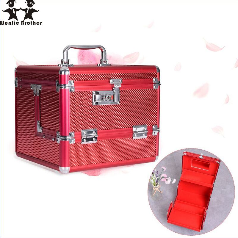 wenjie brother Professional Aluminium alloy Make up Box Makeup Case Beauty Case Cosmetic Bag Multi Tiers Lockable Jewelry Box
