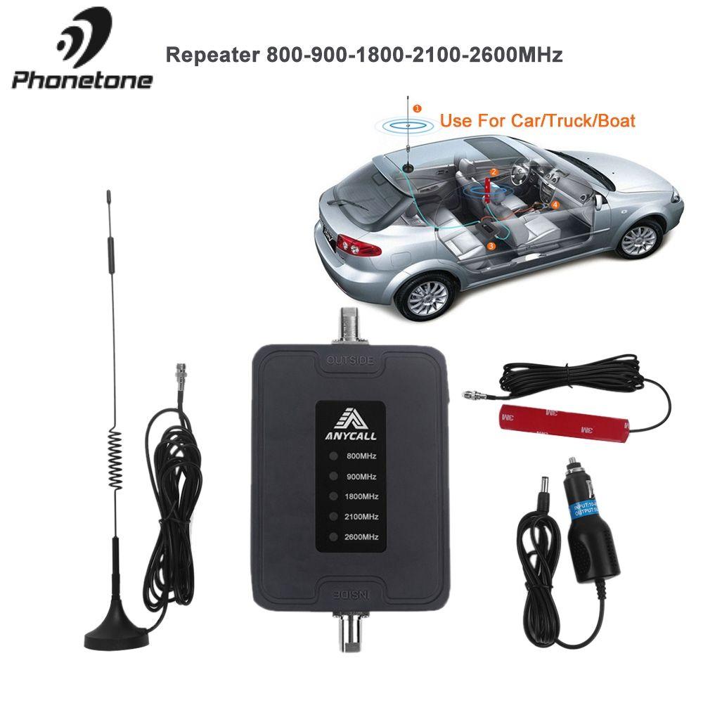 Mobile Handy Signal Booster 800/900/1800/2100/2600 MHz 2G 3G 4G LTE 5 Band 45dB Gain Cellular Repeater Verstärker für Auto verwenden