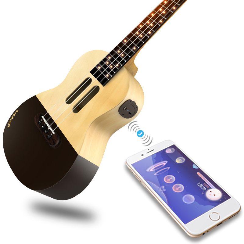 Populele U1 Portable 23 Inch Smart Acoustic Electric Guitar Ukulele APP Phone Soprano Ukulele for Beginners 4 Strings Guitarra